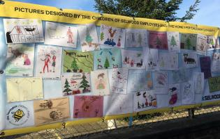 The festive display of children's artwork at Selwood's HQ in Chandler's Ford