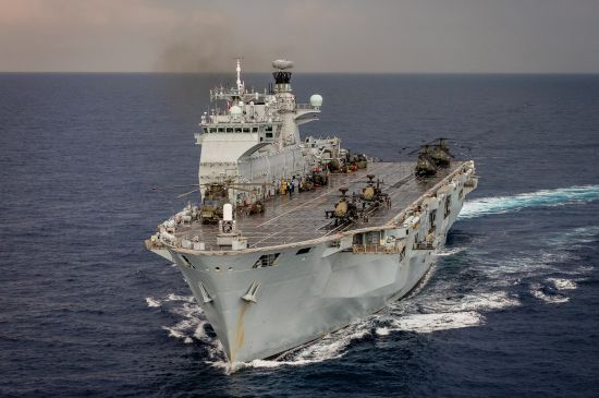 HMS Ocean in the Mediterranean. MoD/Crown copyright 2016. Contains public sector information licensed under the Open Government Licence v3.0