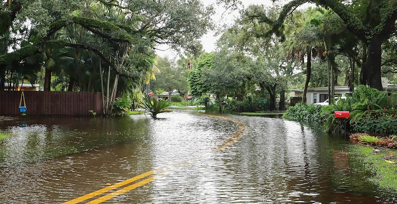 Flooding in residential area