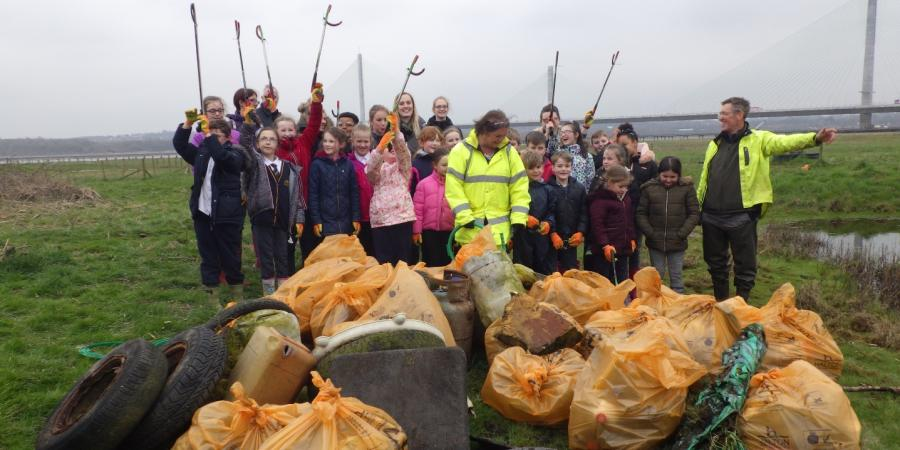 Children from St Michael's Primary School took part in a clean-up for the Mersey Gateway Environmental Trust